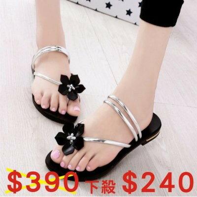 韓版 夏季新款 大花朵夾腳拖鞋 平底涼鞋 拖鞋 舒適百搭 休閒涼鞋 平底平跟 甜美可愛 多色可選 J27