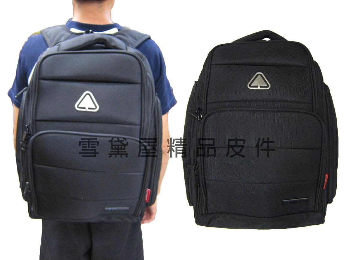 ~雪黛屋~SPYWALK 後背包大容量雙二層主袋防水尼龍布+皮革材質可A4資料夾14吋電腦胸前釦+安全哨014S6137