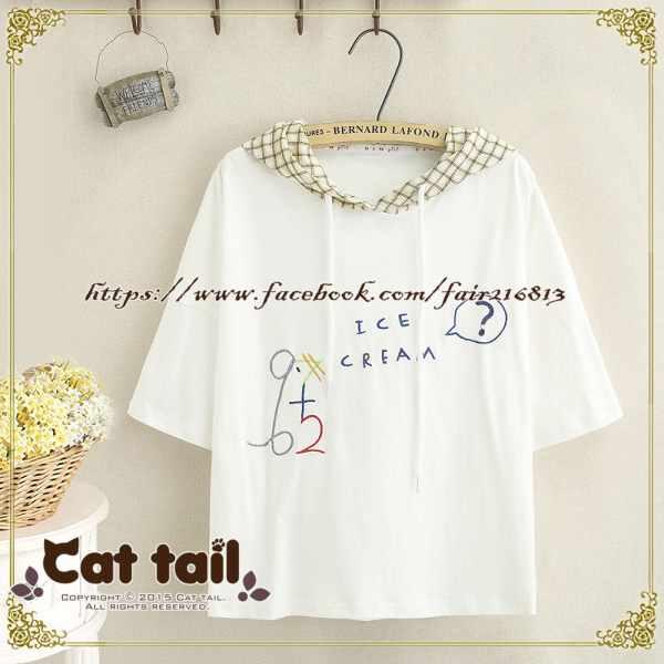 《貓尾巴》TS-0782日系拼色格子字母刺繡短袖T恤(森林系日系棉麻文青清新)