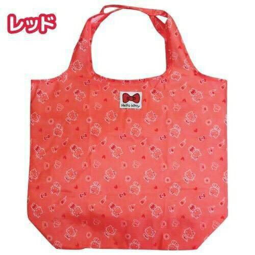 【真愛日本】16050300004可收納環保袋-KT大臉紅   三麗鷗Hello Kitty凱蒂貓 旅行袋 收納袋