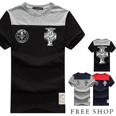 《Free Shop》Free Shop【QM20622】歐美潮流系十字架骷髏變形蟲印花圓領棉質短T短袖上衣‧三色 MIT 台灣製
