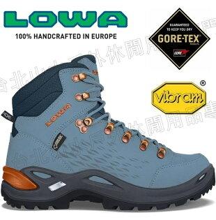 Lowa中筒防水健行鞋登山鞋20周年經典紀念款Renegade20女款LW3209206131冰藍銅限量色