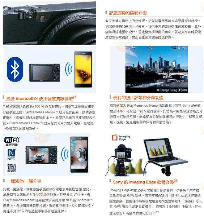 送原電+原廠座充+AG-R2等5好禮 SONY DSC-RX100VI RX100M6 台灣索尼公司貨 4