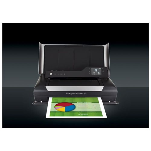 "HP Officejet 150 Inkjet Multifunction Printer - Color - Plain Paper Print - Desktop - Copier/Printer/Scanner - 22 ppm Mono/18 ppm Color Print - 5 ppm Mono/3.5 ppm Color Print (ISO) - 4800 x 600 dpi Print - Manual Duplex Print - 2.4"" Touchscreen - 600 dpi 0"