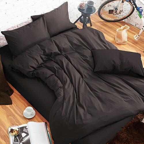 哇哇購:舒柔時尚精梳棉三件式枕套床包組雙人深灰哇哇購