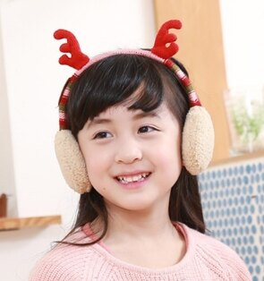 Kocotree◆秋冬可愛聖誕麋鹿角造型兒童保暖耳罩-粉色