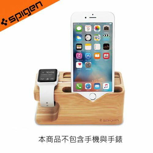【新風尚潮流】韓國Spigen iPhone + Apple Watch 環保木質 手機支架 充電座 S370