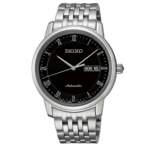 Seiko Presage 4R36-04E0D(SRP693J1)經典羅馬雙日曆機械腕錶/黑面40mm