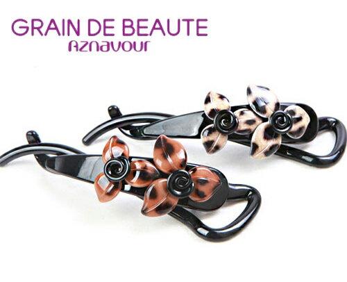 BHJ194-法國品牌Grain de Beaute 豹紋風花朵馬尾夾 髮夾 香蕉夾【韓國製】Aznavour
