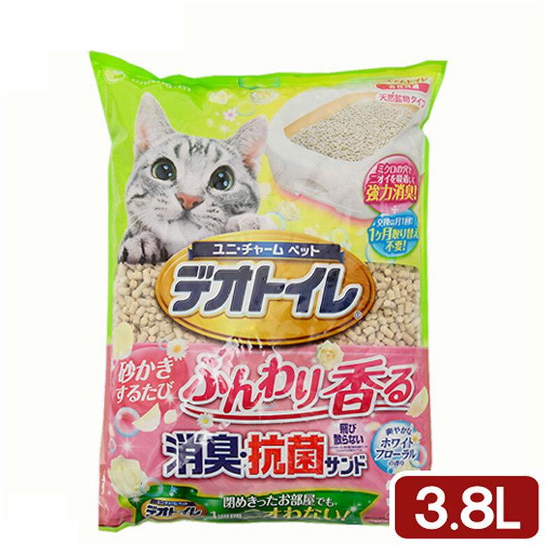 《日本Unicharm 嬌聯》消臭抗菌花香貓砂3.8L條砂 (約2個月份量) 0