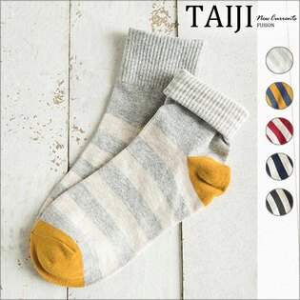 休閒中筒襪‧撞色可反摺條紋棉質中筒襪‧五色【NJB0025】-TAIJI-