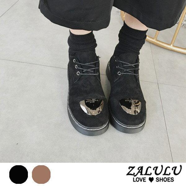 ZALULU愛鞋館7DE043複合材質綁帶磨砂面包鞋-偏小-黑棕-36-39