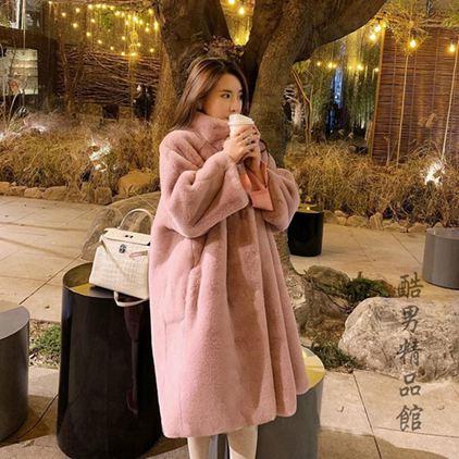 2019冬季新款仿皮草水貂絨毛毛絨長款大衣立領過膝加厚寬鬆外套女 全館免運