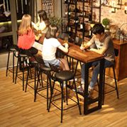 奶茶鐵藝王咖啡廳椅星巴克家用客廳酒吧臺長條桌實木高腳吧臺桌椅ATF 全館免運