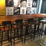 北歐實木星巴克咖啡廳吧臺靠牆高腳凳酒吧桌鐵藝餐廳吧臺桌椅組合ATF 全館免運