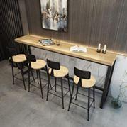 北歐鐵藝實木吧臺桌家用咖啡桌酒吧桌長條桌餐廳高腳桌奶茶店桌椅 全館免運