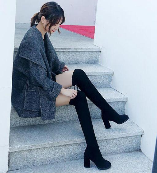 新款長筒女靴中跟過膝靴網紅瘦瘦彈力靴粗跟綁帶高筒加絨馬靴 全館免運