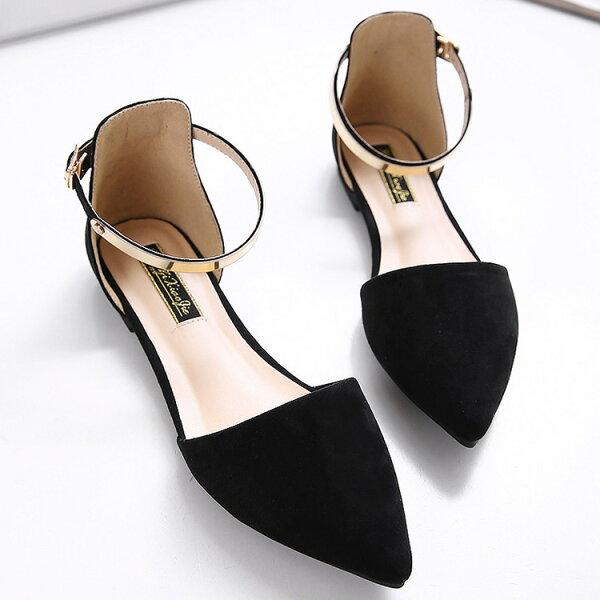 新款韓版尖頭金屬腳踝扣平底鞋金屬環涼鞋歐美明星款加大尺寸42號黑粉杏色