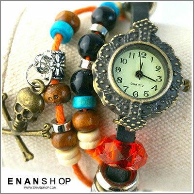 惡南宅急店【0496F】是手環也是手錶 串珠手鏈錶 古典風 多款造型墜手錶