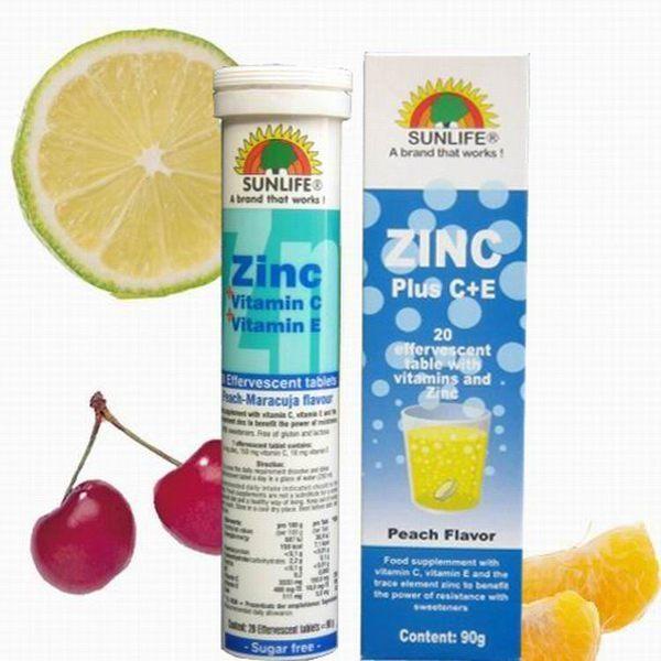 【德國SUNLIFE】鋅+維他命C+E 發泡錠(水蜜桃) 20顆 ◤單次購買3瓶隨貨附贈1瓶 ◢