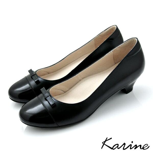 Karine:karine(MIT台灣製)全真皮拼色蝴蝶結低跟鞋-黑色