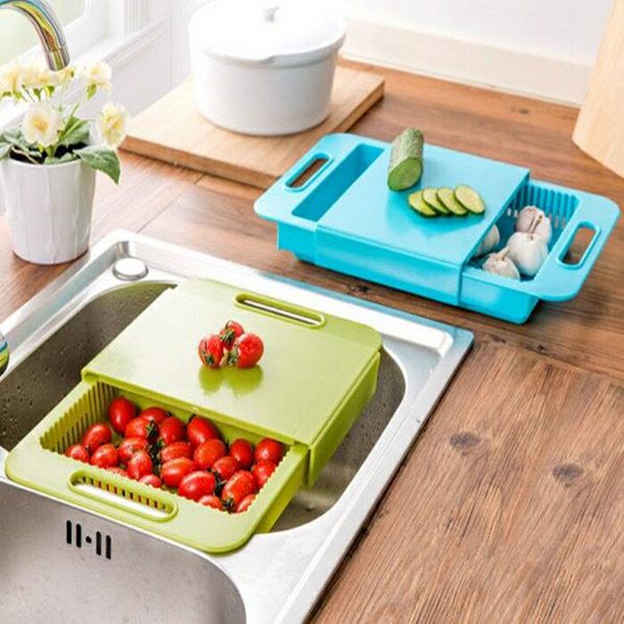 HareD [Hare.D] 二合一切菜板瀝水籃 創意多功能水槽洗菜切菜砧板 可滑動廚房瀝水架 抽屜式 防滑防溢水瀝乾切菜兩用