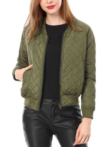 Women Quilted Zip Up Raglan Sleeves Bomber Jacket ebd68757da6ecf0f7ee21ba7f092ac32