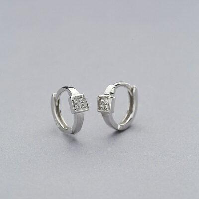 【米蘭秀】【奇珍館】:925純銀耳環鋯石耳扣-方型鑲嵌簡約經典女飾品73ql51【獨家進口】【米蘭精品】