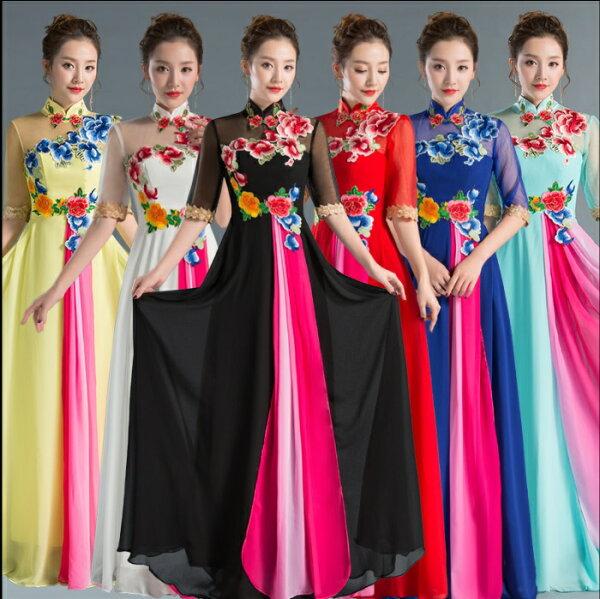 天使嫁衣【JI3255】6色復古繡花中袖綁帶露背長禮服˙預購客製款