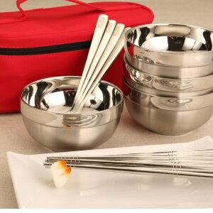 美麗大街【D9078】家庭餐具套裝碗創意旅行便攜式不銹鋼筷勺子野炊折疊套裝飯碗包