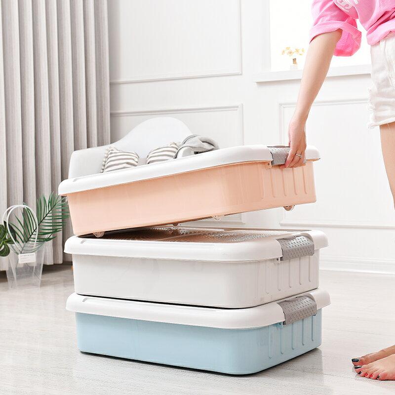 床底收納箱 特大號加厚床底收納箱扁平塑膠帶輪收納盒整理箱床下衣服儲物箱『J8833』