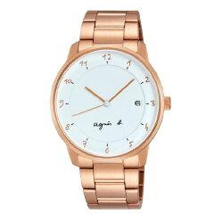 agnes b VJ42-KZ30P(BS9002J1) 玫瑰金法式時尚經典腕錶/白面38mm