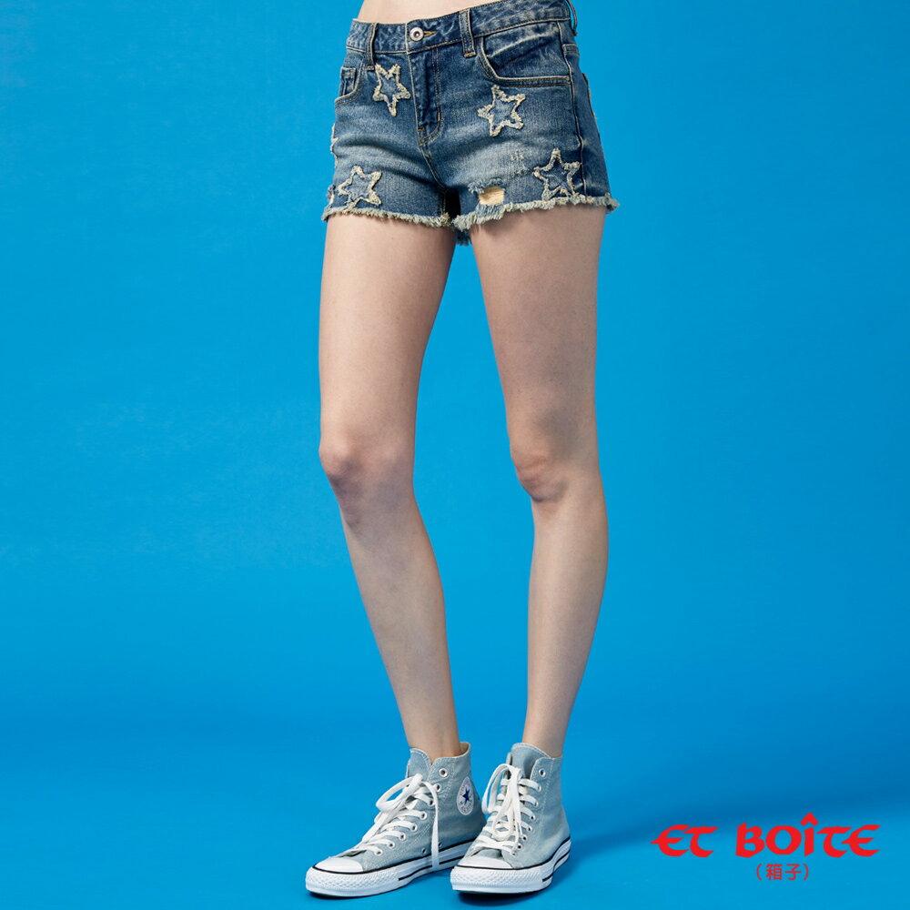 【春夏新品】五角星立體彈性丹寧短褲(牛仔藍) - BLUE WAY  ET BOiTE 箱子 1