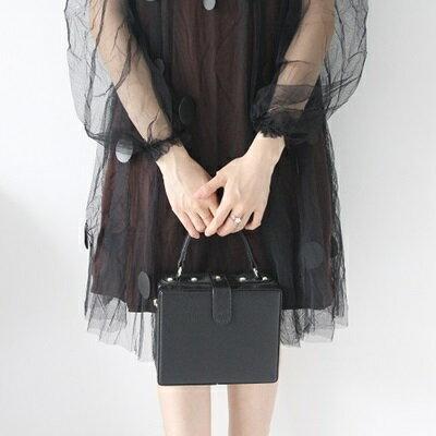 肩背包純色手提包-方形箱包韓版時尚女包包3色73so15【獨家進口】【米蘭精品】
