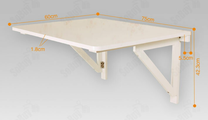 Superbe Haotian Wall Mounted Drop Leaf Table, Folding Dining Table Desk, Solid Wood