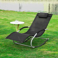 Haotian Rocking Black Lounge Patio Chairs Outdoor,Patio Outdoor Garden Chair, Outdoor Lounge Chair with Pillow,OGS28-SCH