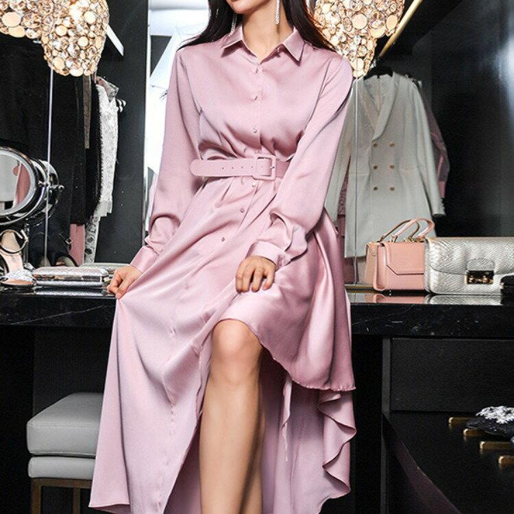 女裝2021夏款韓版襯衫式連衣裙女名媛氣場高冷範修身燕尾長裙