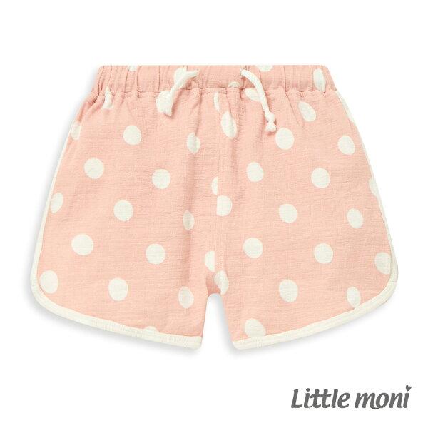 Littlemoni點點印圖短褲-粉紅