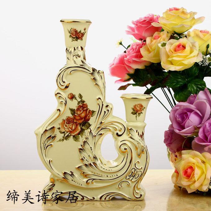 利曼迪 歐式燭臺 象牙瓷陶瓷 新家擺飾 家居裝飾擺件 結婚禮物