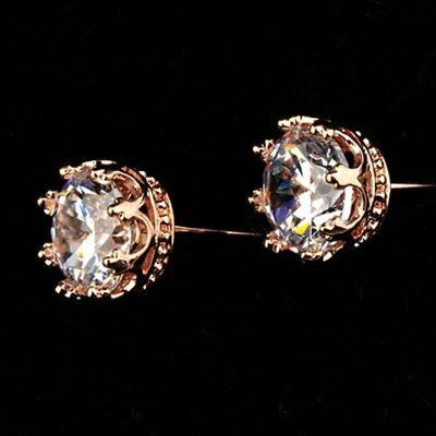 玫瑰金耳環925純銀鑲鑽耳飾~簡約奢華精緻耀眼情人節生日 女飾品73gs211~ ~~米蘭