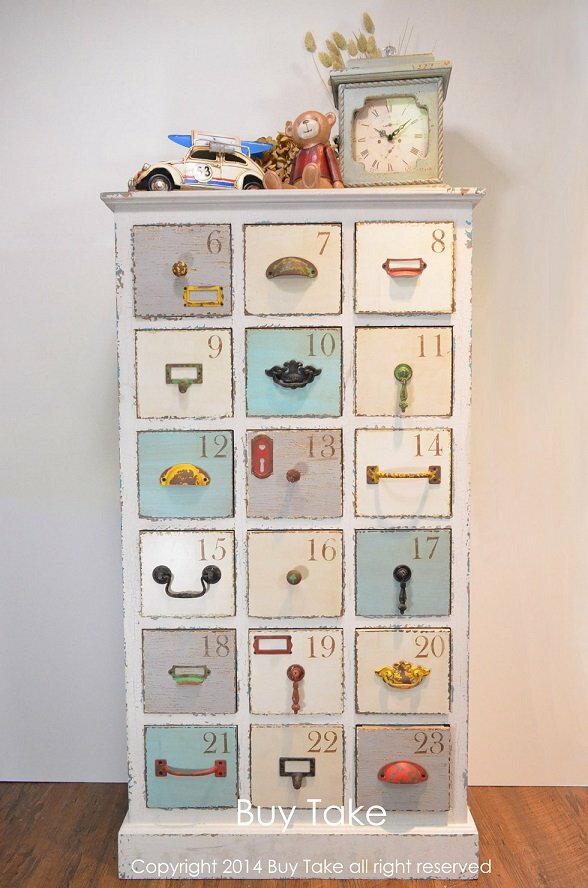 復古多層數字收納櫃 南法玫瑰收納櫃 多層櫃 抽屜櫃 組合櫃 歐式 古董 復古