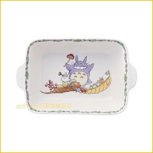 asdfkitty可愛家☆TOTORO龍貓雙耳陶瓷深方型焗烤盤陶瓷盤-日本正版商品
