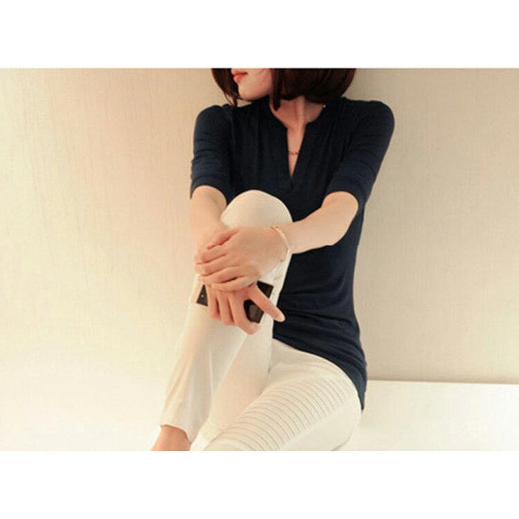 T恤 素色V領貼身顯瘦長袖T恤【MZTX0119】 BOBI  08/18 2