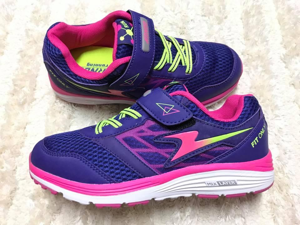 【Jolove】ARNOR阿諾運動童鞋/輕量彈力避震跑鞋68307 葡萄紫
