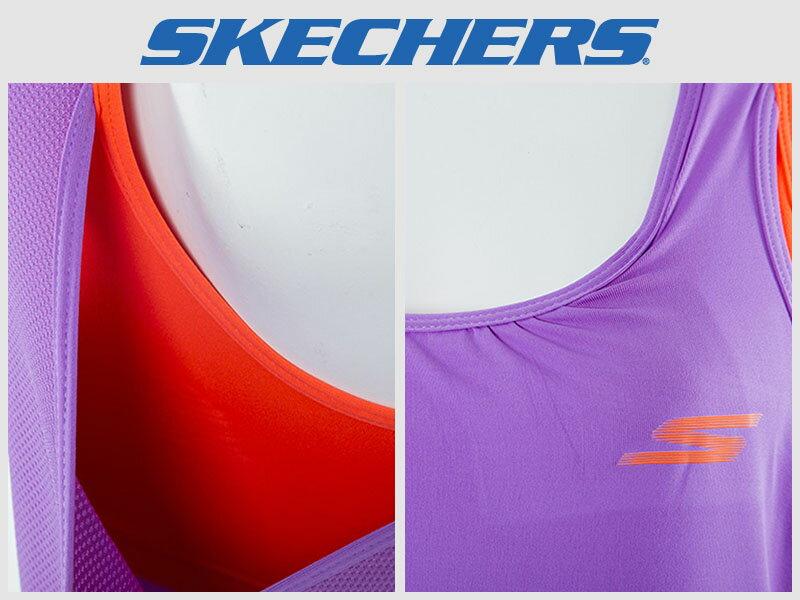 Shoestw【GWPTT650PUR】SKECHES 運動背心 彈性排汗衣 雙層 紫橘 透氣 1