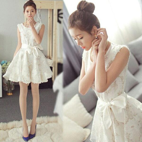 糖衣子輕鬆購【HY6820】韓版時尚氣質甜美蕾絲蓬蓬連身裙