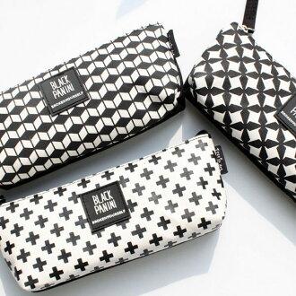 筆袋幾何圖騰文具袋(格子、十字、波紋)-JC Collection