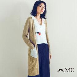 【MU】特色別針混紡毛料雙口袋長版針織外套(卡其X白色)7924161