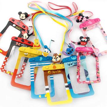 5吋迪士尼手機防水袋通用可愛繽紛手機防水袋(附夾子捲線器耳機塞)