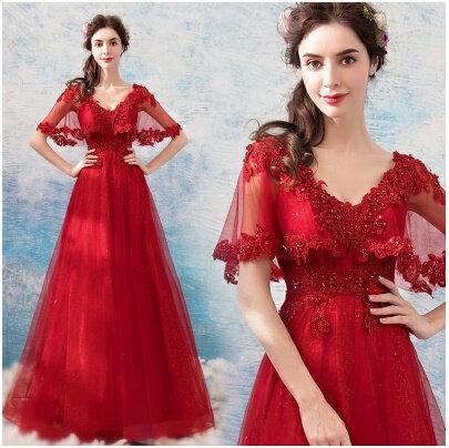 天使嫁衣:天使嫁衣【AE886】紅色性感V領蕾絲網紗披肩華麗晚禮服˙預購訂製款